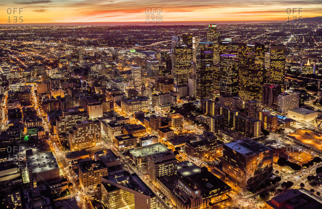 Los Angeles, California, USA - December 7, 2015: Aerial View of Cityscape at Sunset