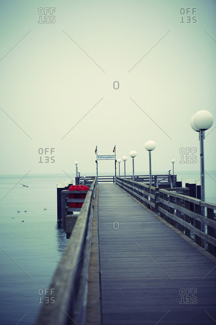 View of Empty Dock at Coast of Baltic Sea in Winter, Kuhlungsborn, Mecklenburg-Vorpommern, Germany