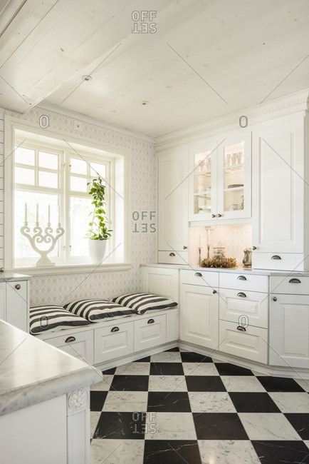 Country kitchen with checkered floor
