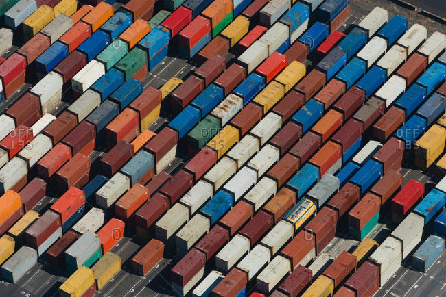 Aerial view of angled multi color cargo containers in the Port Melbourne