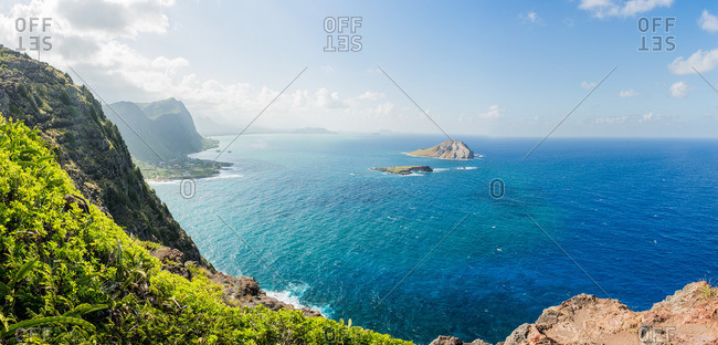 View of cliffs and coastline, Makapuu, Oahu, Hawaii, USA