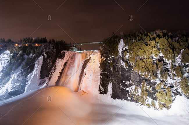 View of frozen Montmorency Falls Park at night, Quebec City, Quebec, Canada