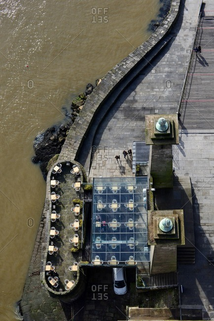 An area outside a bar in Oporto from above