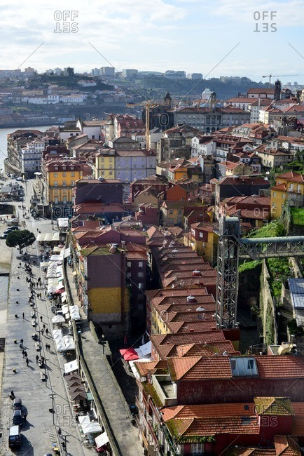 March 3, 2016: Views of Oporto old town from Dom Luis Bridge, Portugal