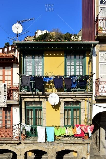 March 3, 2016: Facade of a house in Oporto, Portugal