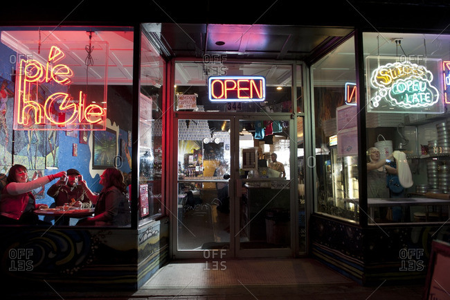 Salt Lake City, Utah - March 19, 2013: Exterior of the Pie Hole pizza parlor at night
