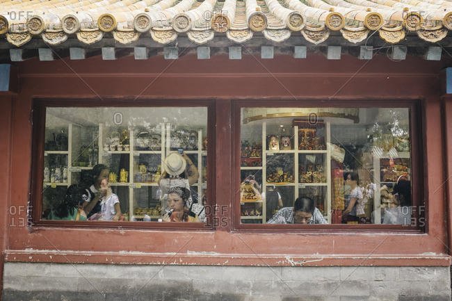 Beijing, China - July 17, 2013: Restaurant and gift shop in the Forbidden City