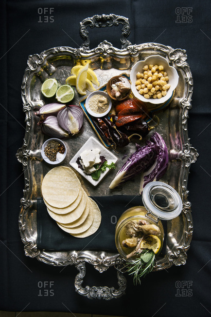 Ingredients for tortillas on a silver tray