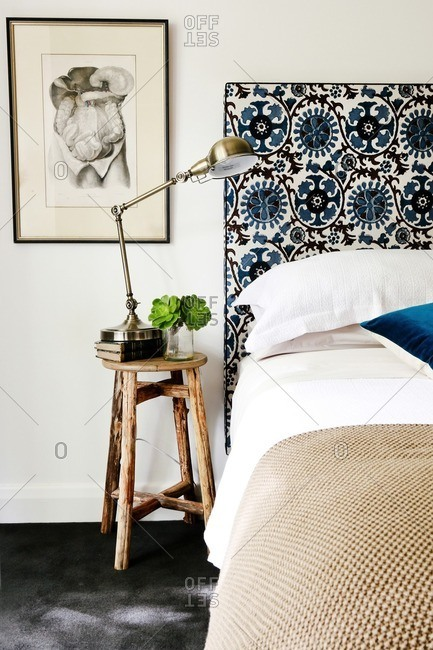 November 14, 2012: Bedroom with black and blue pattern headboard