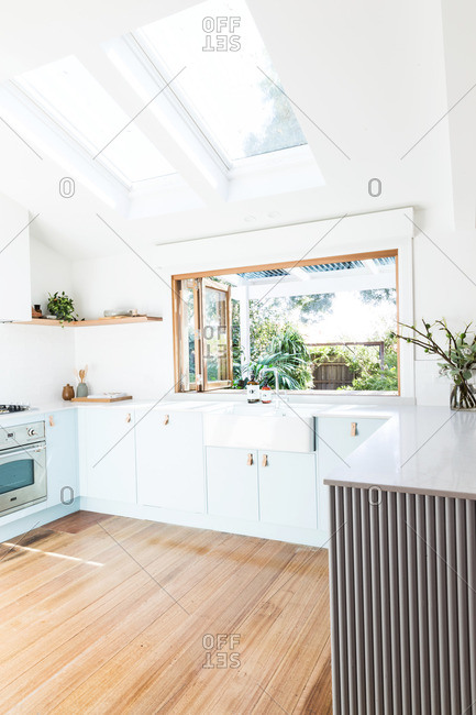 March 11, 2015: Interior of a modern kitchen with skylights and large window