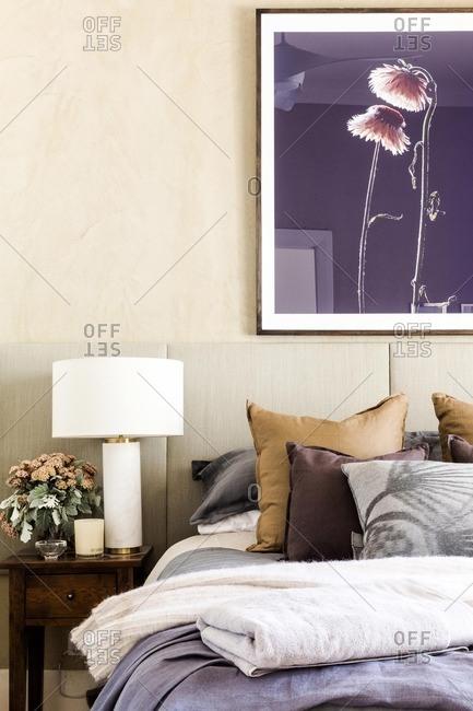 April 17, 2015: Guest bedroom with flower artwork