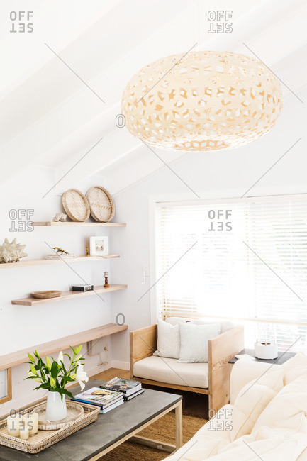 March 11, 2015: Modern living room with large light fixture
