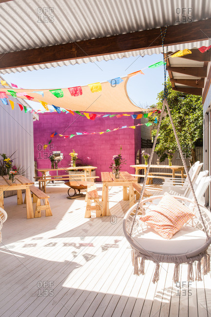 Colorful patio setup