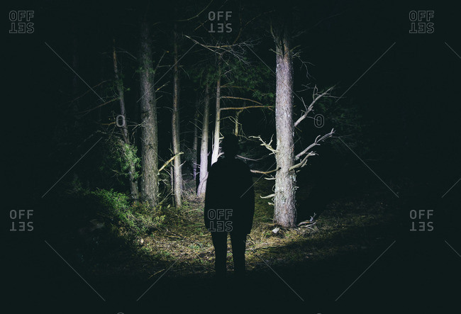 Woman with headlamp in a creepy forest at night