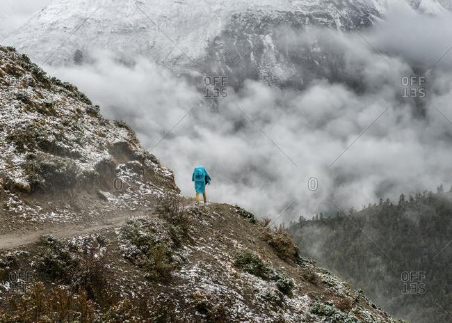 Trekking on hiking path
