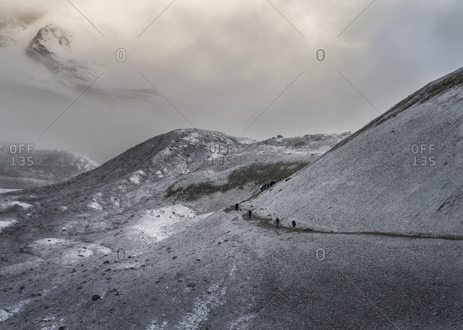 Trekking path on Thorong La