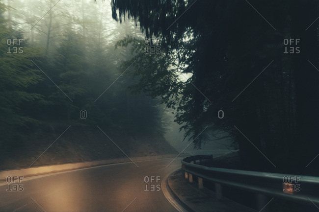Empty country road in fog