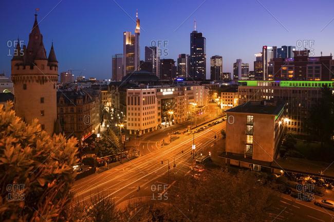 Frankfurt, Germany - June 2, 2016: Eschenheim Tower left in the financial district in the evening