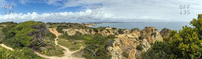 Hiking path at cliff coast