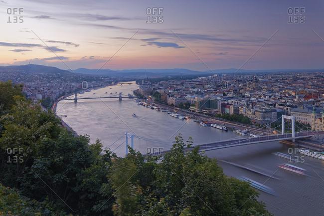 Danube river with Elisabeth Bridge and Chain Bridge