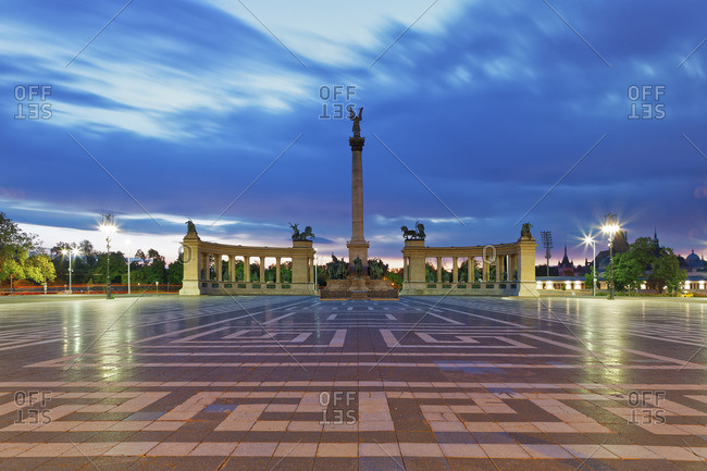 Heroes' Square with Millennium Monument in the evening
