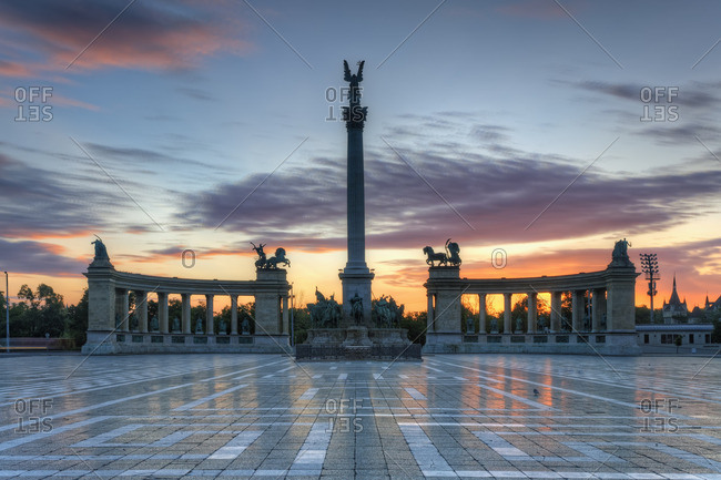 Heroes' Square with Millennium Monument at sunset