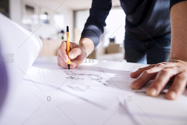 Close up of an architect working from home