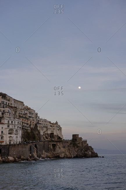 Amalfi, Italy - March 21, 2016: View to the coast at evening twilight