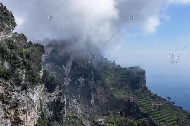 View from Sentiero degli Dei of the Amalfi coast