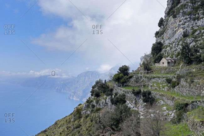 House and terraced field on Amalfi coast