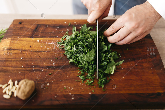 Chef chopping spinach for stuffing for ravioli