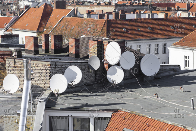 Rooftop with satellite dishes