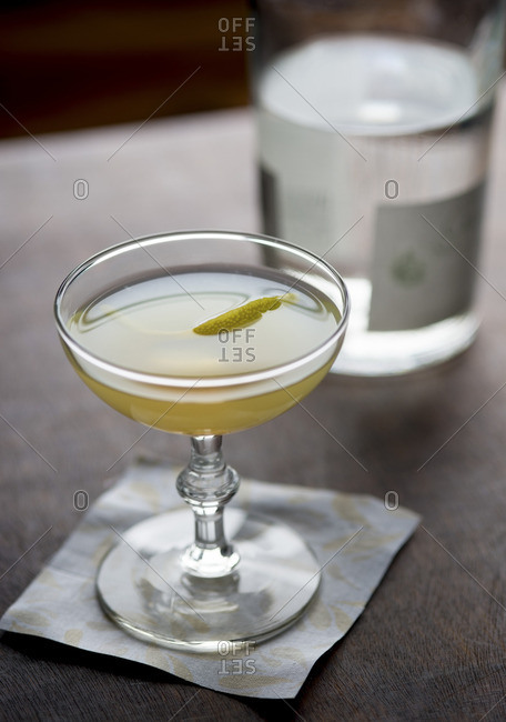 Cocktail served on a napkin