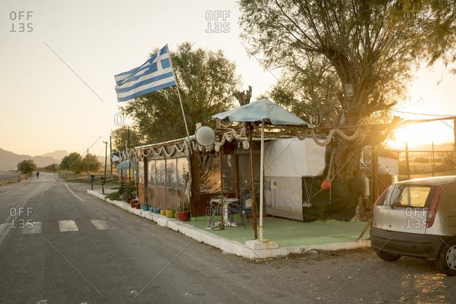 Greek flag near road