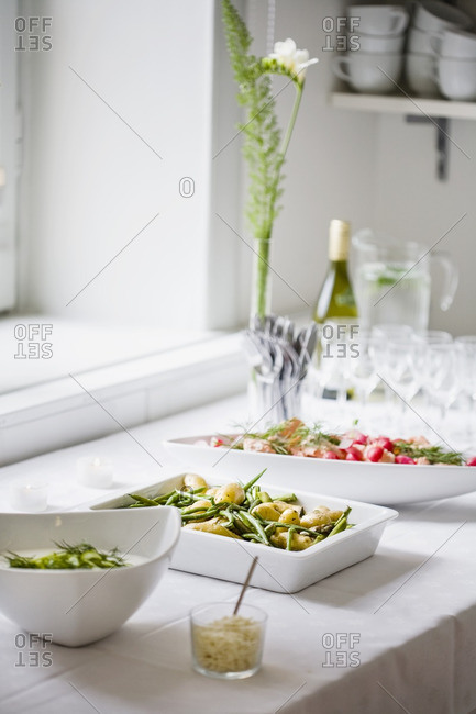 Side dishes on serving table