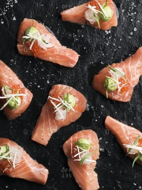 Salmon on black background