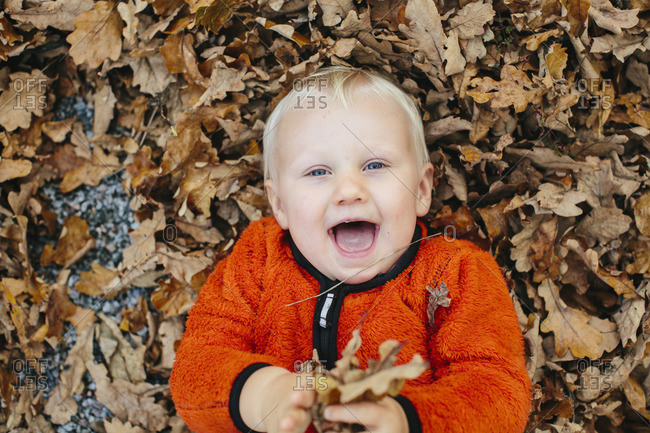 Boy lying on fallen leaves