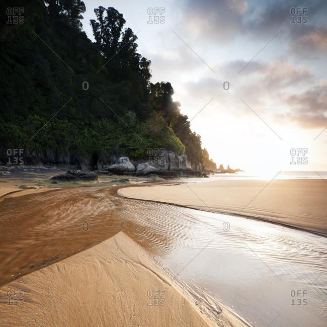 Sandy beach at dusk