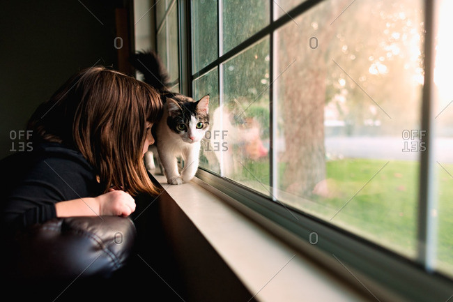 Girl watching cat on windowsill