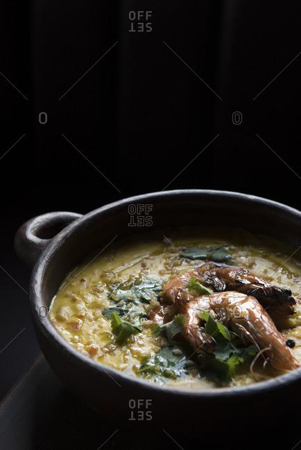 Brazilian shrimp stew in a clay pot