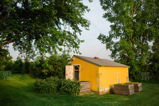 Yellow shed in the country