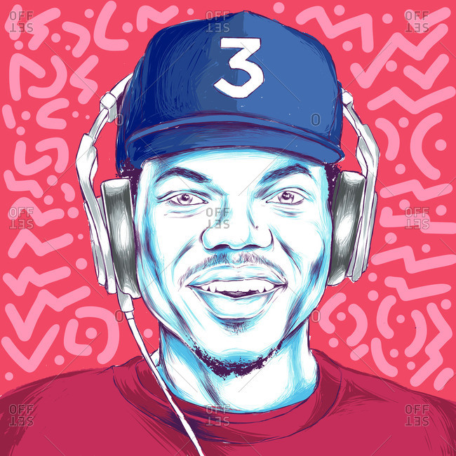 Chance the Rapper wearing headphones