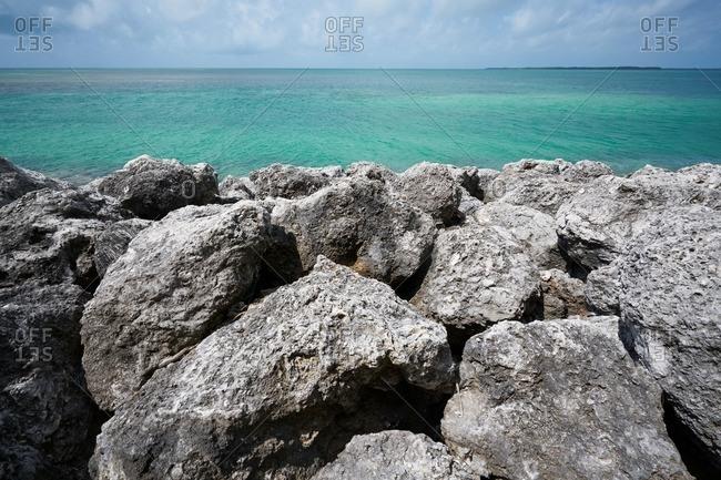 Stone berm near the Long Key Viaduct in the Florida Keys near Layton, Florida