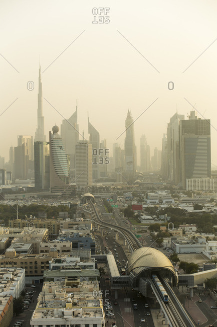 Dubai Skyline and Metro