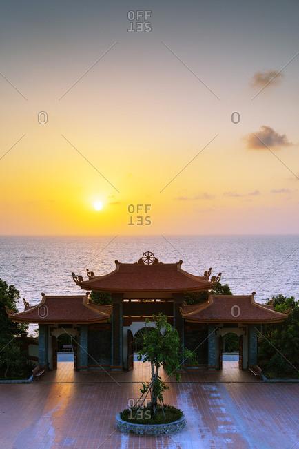 Thien Vien Truc Lam Ho temple at sunset