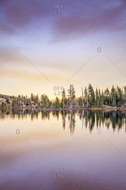 A lake in Desolation Wilderness near Tahoe, California at sundown