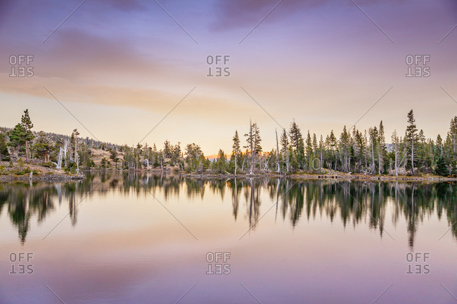 A lake in Desolation Wilderness near Tahoe, California at sunset