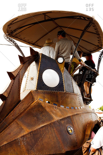 Santa Rosa, California - September 24, 2011: A steampunk metal ship on display in Santa Rosa, California