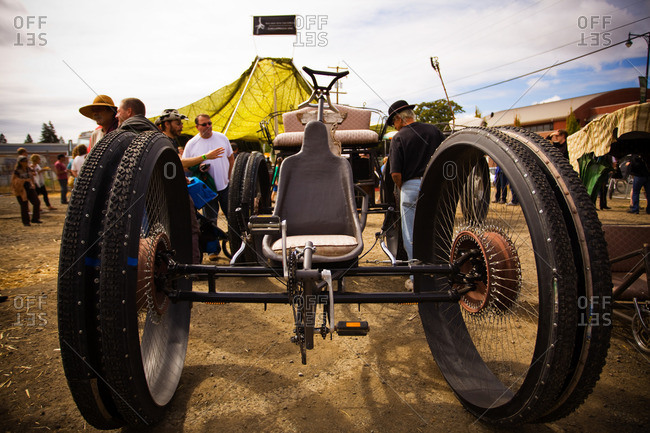 Santa Rosa, California - September 24, 2011: A steampunk vehicle on display in Santa Rosa, California