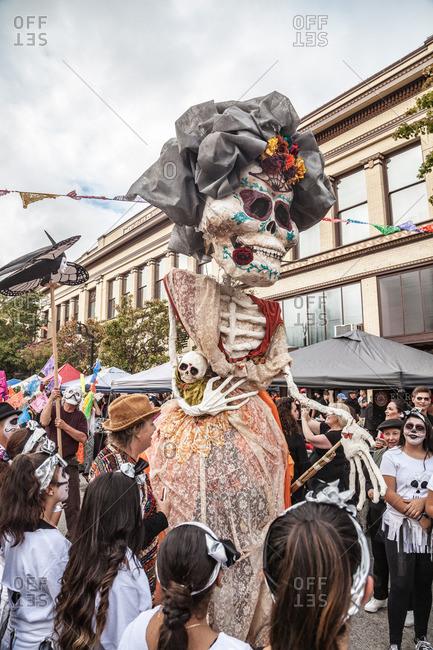 Petaluma, California - October 31, 2015: Dia de los Muertos celebrations in Petaluma, California